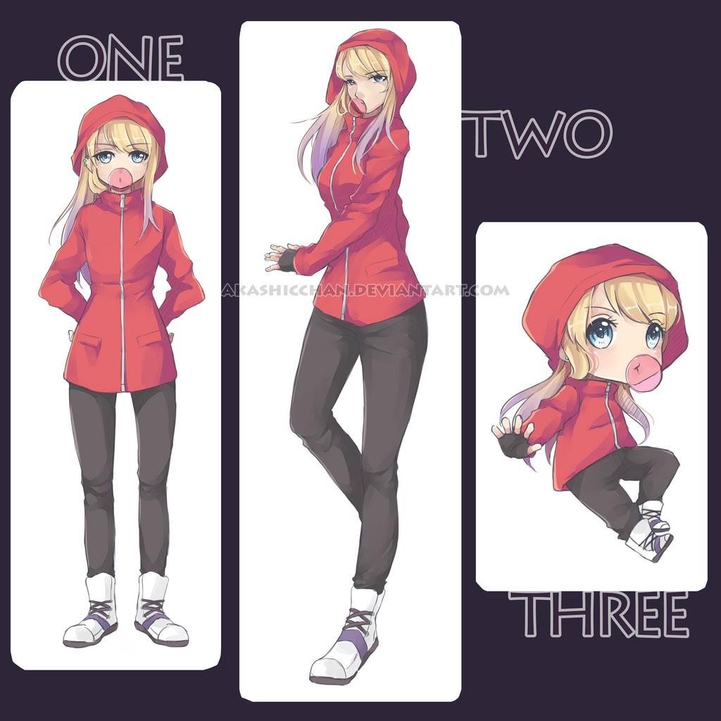 Erika three styles [need help!] by Akashicchan
