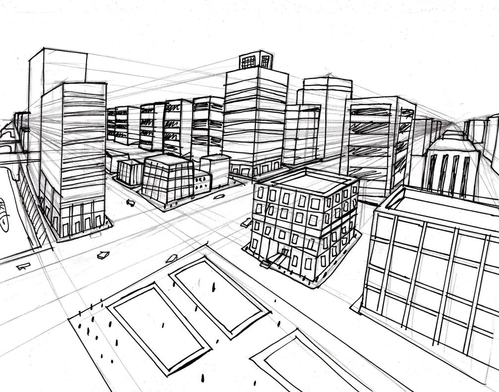 City Using Two Point Perspective (sketch and ink) by Helsaabi