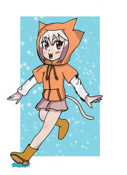 Tama walk in the rain.