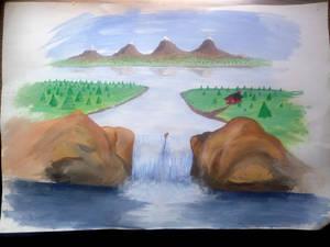 waterfall painted