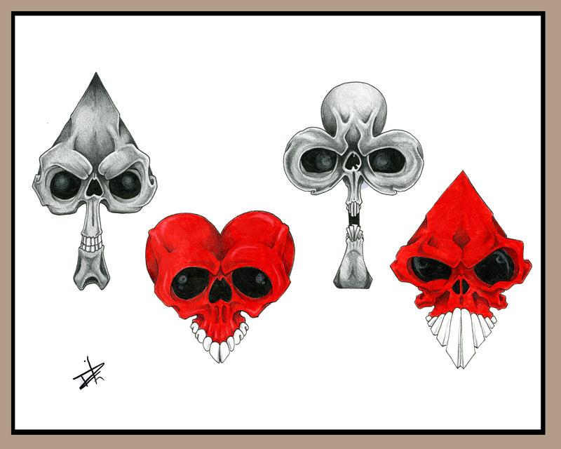 Card Skulls by JoshDixArt