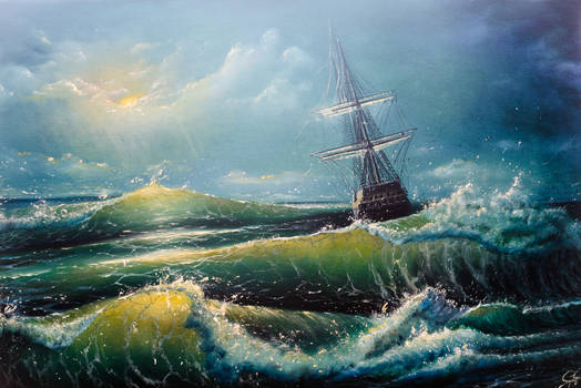 The blue sea with the ship on a background