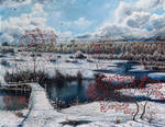 Winter landscape with a mountain ash