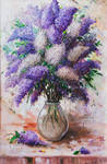 Bouquet of lilac in the Bank