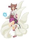 [Pixel] Dinasty Ahri by maliciousfoxdraws