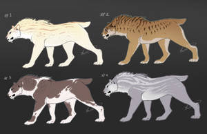 CHEAP Sabertooth adopts (1/4 OPEN) by xeebee