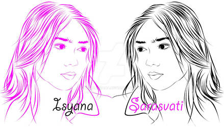 Isyana Sarasvati line Art