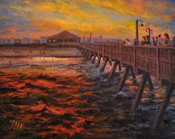 Tybee island. Sunset on the pier. by herrerojulia