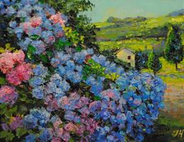 Landscape with the hydrangea. by herrerojulia