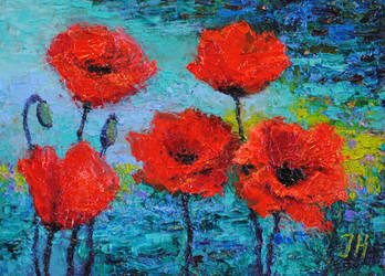 Poppies over the water.