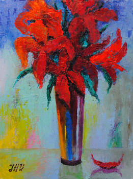 Still life with red lilies.