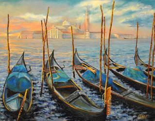 Venetian gondolas. by herrerojulia