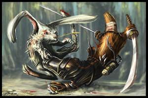 Zombi-Rabbit vs Ninja-Platypus by KageRott