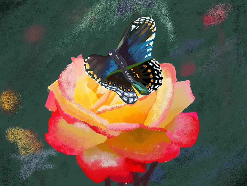 Flower W Butterfly in MS Paint by Deathllamas33