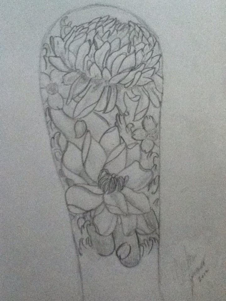 Floura tattoo short sleeve sketch 8 3 12 by cutiebear64 on for Half sleeve tattoo sketches