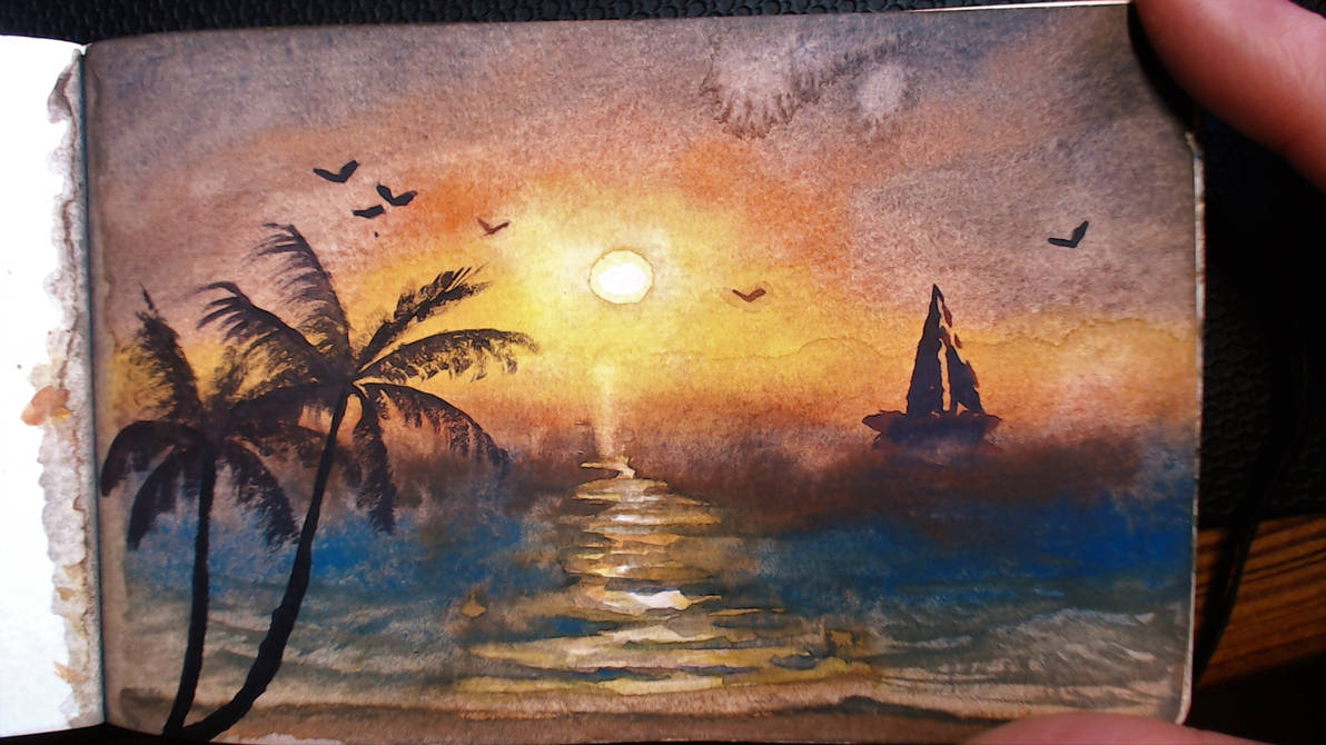 Watercolor: Sunset Beach by DM7