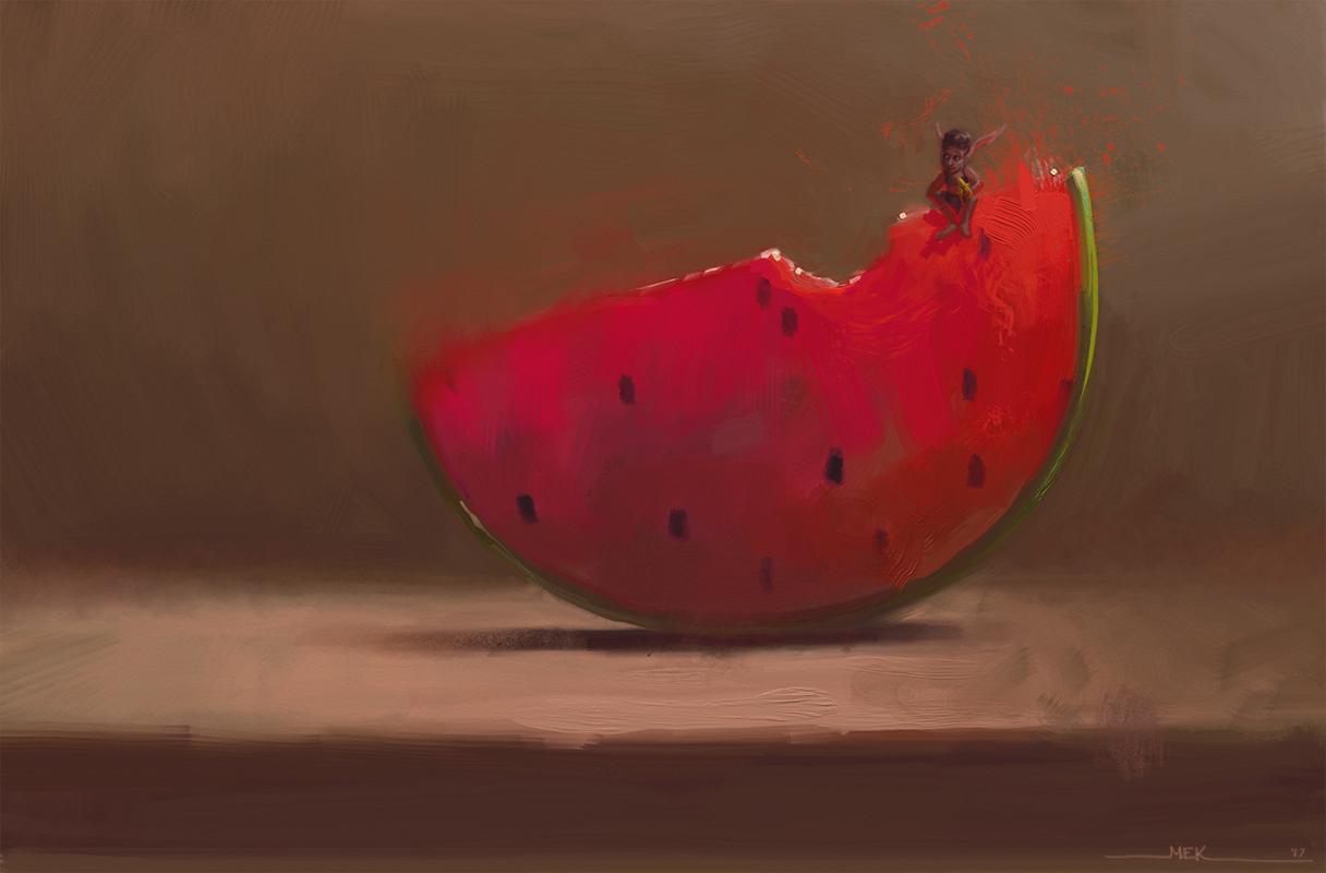 Happy Fairy Sitting on a Watermelon by DM7