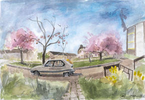 Urban Sketching: Pink Flowering Trees by DM7