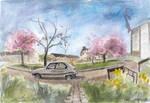 Urban Sketching: Pink Flowering Trees by DM7