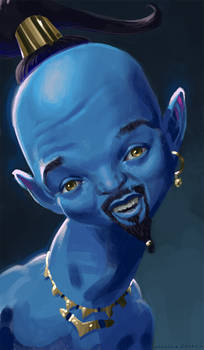 Caricature: Will Smith as the Genie