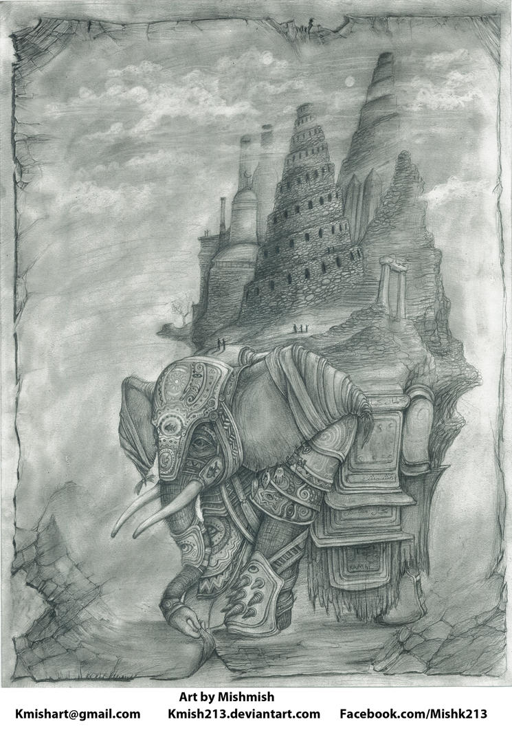 Creatures from Mish- Elephant w/ City on its Back by kmish213