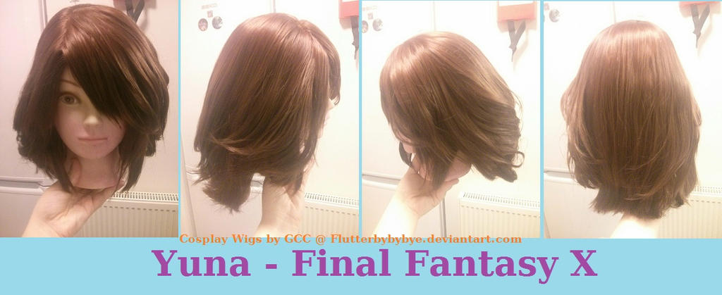 Yuna Cosplay Wig Commission by Flutterbybybye