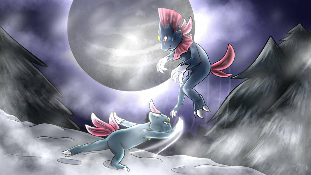 Sneasel and Weavile by Blarien
