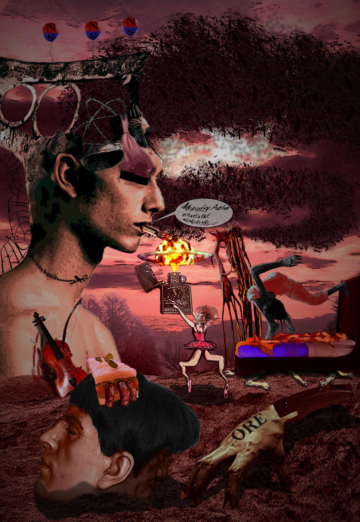 Triptych panel: Dreams of Violence by WallowBlacklake