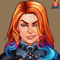 Morrigan Pixel Portrait by Petrazilla