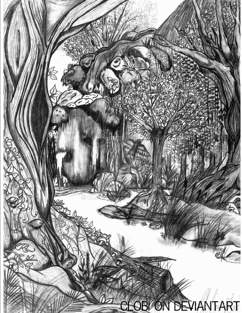 forest, coloring page version by clobi on DeviantArt