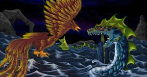 Serpent vs phoenix (digital)