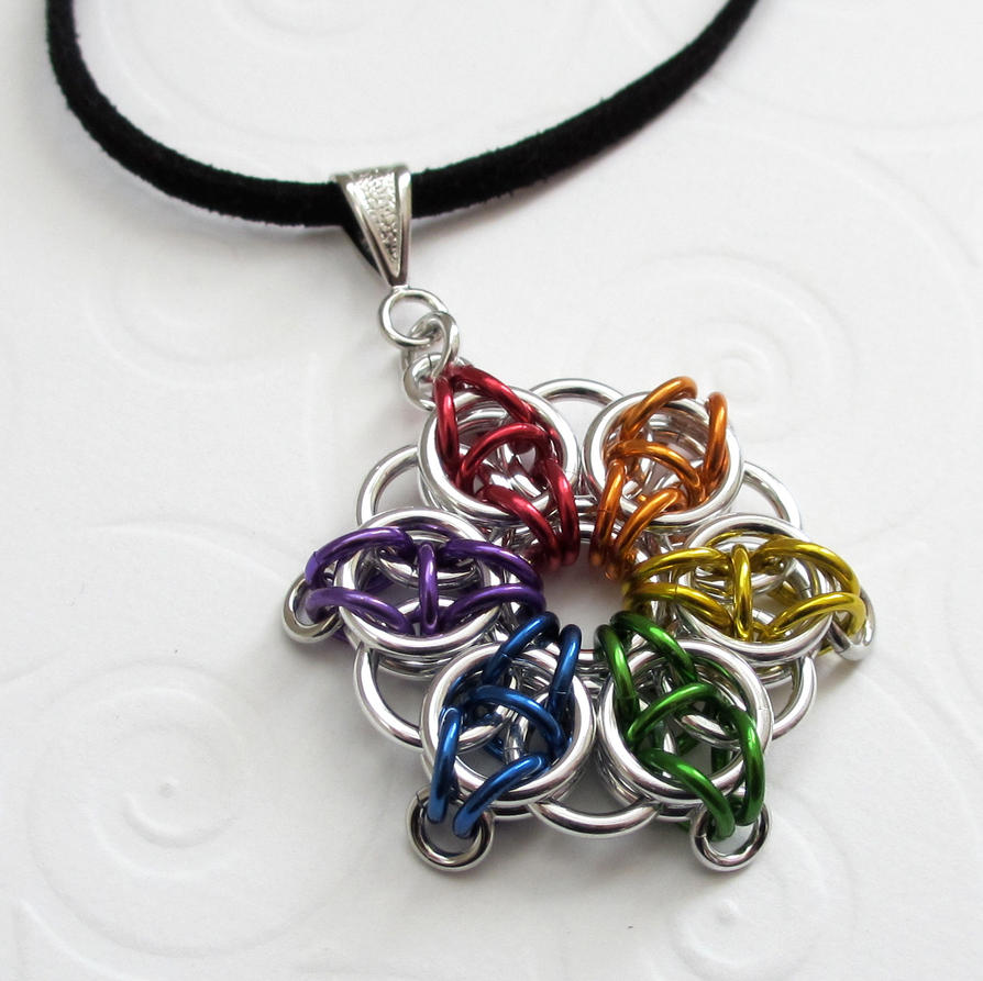 Rainbow celtic star chainmaille pendant by tattooedandchained on rainbow celtic star chainmaille pendant by tattooedandchained mozeypictures Image collections
