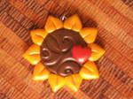Fimo pendant-Sunflower 1