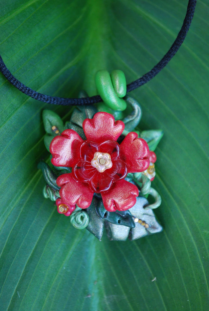 Red Jungle fantasy flower necklace by Libellulina