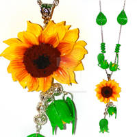 Polymer clay Sunflower necklace