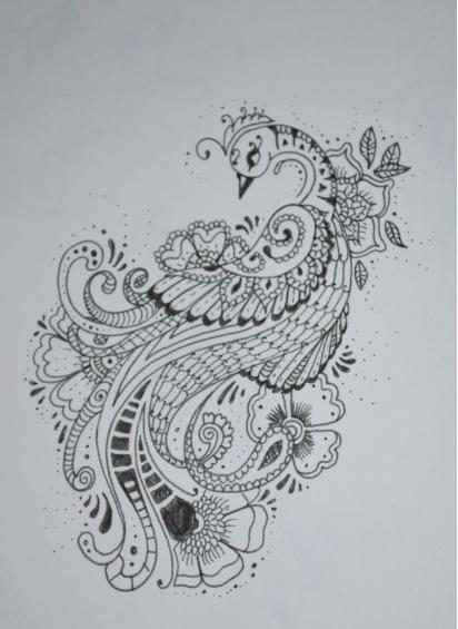 Mehndi Design Line Art : Mehndi stlye peacock v by laura simmons on deviantart