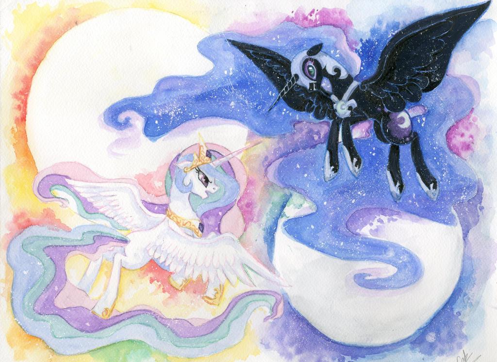 Celestia and Luna by JumboPorkBowl