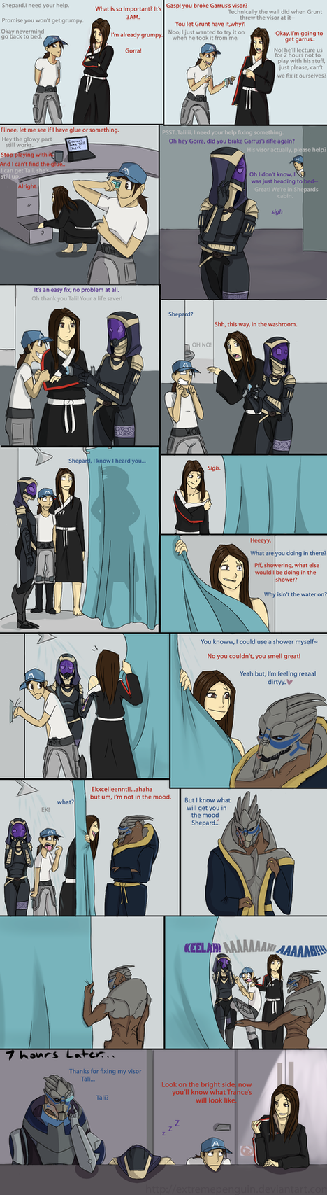 ME3: Hiding in the Shower by ExtremePenguin