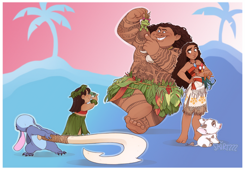Lilo and Stitch meet Moana and Maui