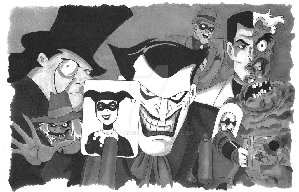 Batman Villians no color by hulinaart