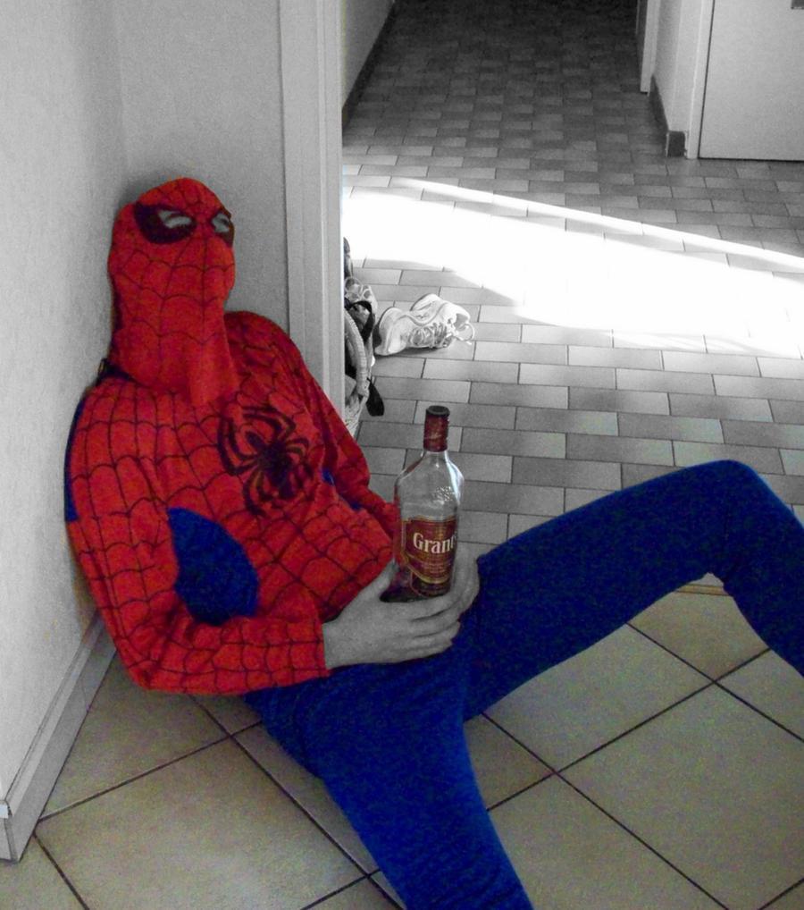 Spider Man is drunk by Ju-dreams