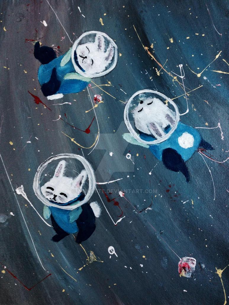 Bunnies in space by Zinnette