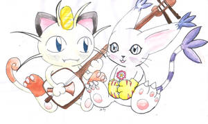 Cute Gatomon and Meowth by DaisyDeddle
