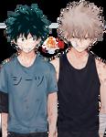 Katsuki Bakugo and Izuku Midoriya Anime Render