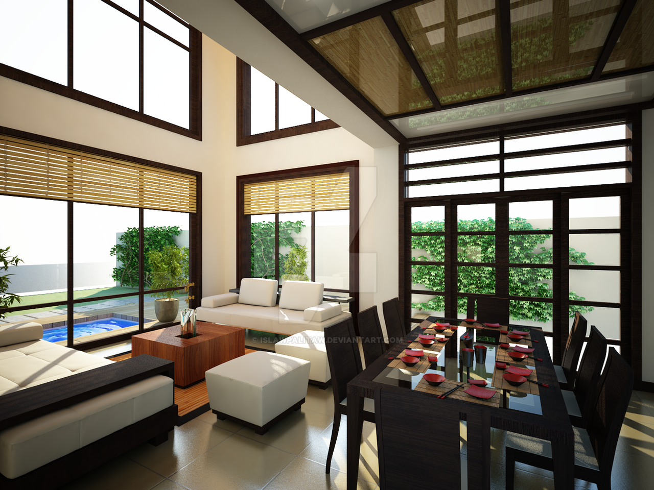 Japanese decor living room - Japanese Inspired Living Room By Islawpalitaw On Deviantart Superb