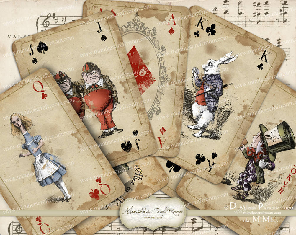 Alice In Wonderland Playing Cards Digital Coll By Mimikascraftroom On Deviantart