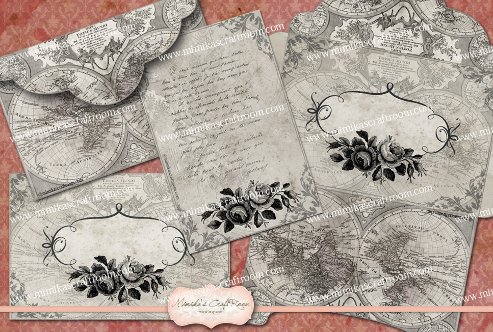 Antique Digital Envelopes Note Cards by mimikascraftroom