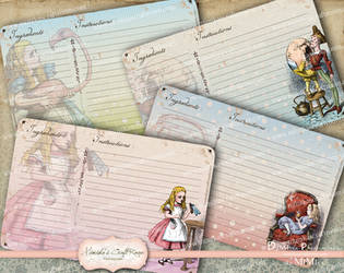 Alice in Wonderland Digital Recipe Cards by mimikascraftroom