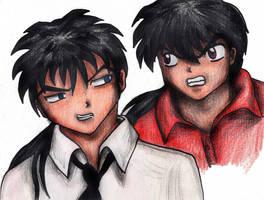Inuyasha and Kouga humans by mariapalitos68