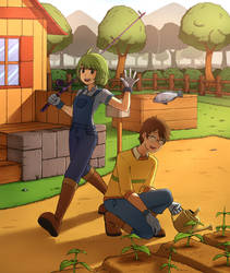 Stardew Valley Couple + speedpaint video by SoulTribute13